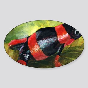Red and black dart frog Sticker (Oval)
