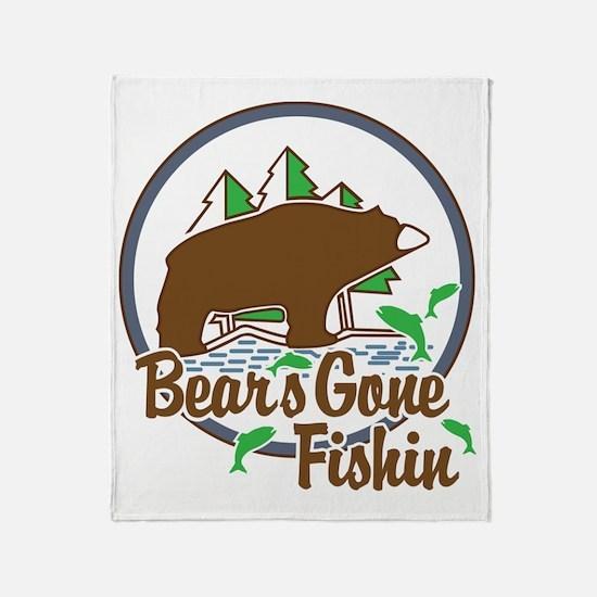 Bear's Gone Fishn' Throw Blanket