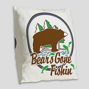 Bear's Gone Fishn' Burlap Throw Pillow
