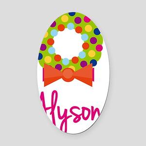 Christmas-wreath-Alyson Oval Car Magnet
