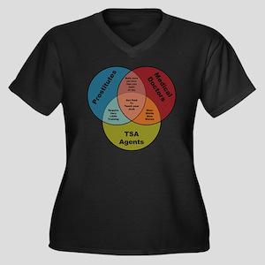 TSA Prostitu Women's Plus Size Dark V-Neck T-Shirt