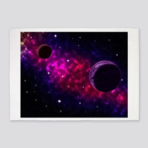 Space scenery with globe planets ne 5'x7'Area Rug