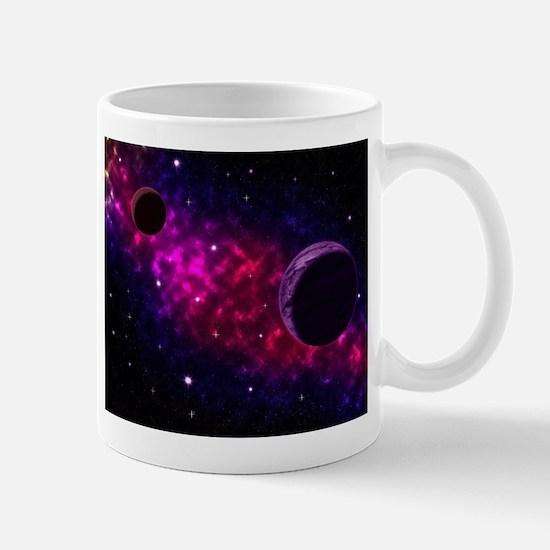 Space scenery with globe planets nebula stars Mugs