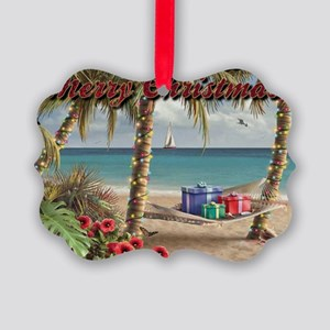 merry christmas beach Picture Ornament