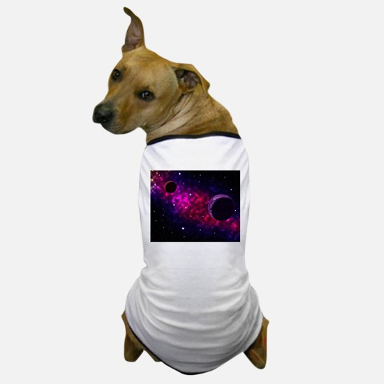 Space scenery with globe planets nebul Dog T-Shirt