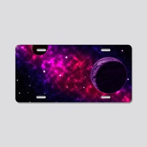 Space scenery with globe pl Aluminum License Plate
