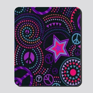 Groovy Peace Hearts And Stars copy Mousepad