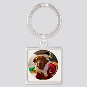 Ornament_Round_Holly_1 Square Keychain