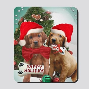 Irish Setter Puppies Yappy Christmas car Mousepad