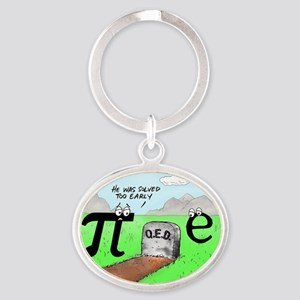 Pi_72 QED Gravestone (10x10 Color) Oval Keychain