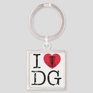 I Heart DG Square Keychain