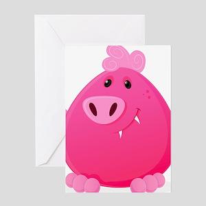 Kozzi-illustration-of-pink-monster-4 Greeting Card