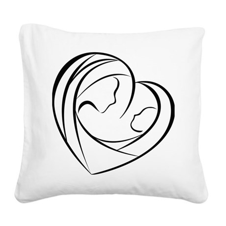 Mother and Child Square Canvas Pillow