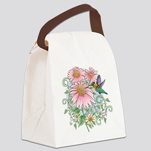 Hummingbird Floral Canvas Lunch Bag