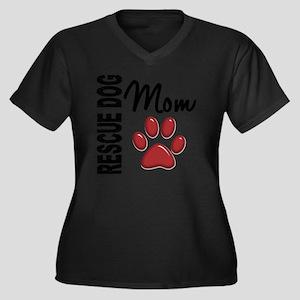 D Rescue Dog Women's Plus Size Dark V-Neck T-Shirt