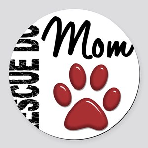 D Rescue Dog Mom 2 Round Car Magnet