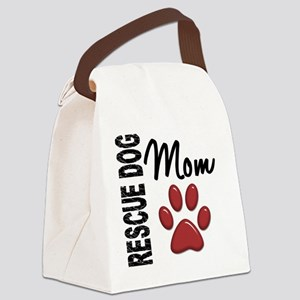D Rescue Dog Mom 2 Canvas Lunch Bag