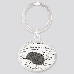atlas of a dentists brain Oval Keychain