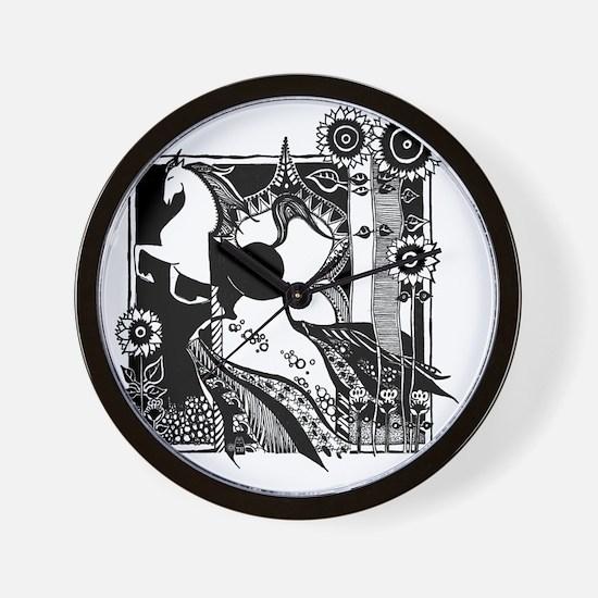 jr._jersey_t-shirt_10x10_horse_black Wall Clock