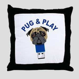 Pug and Play Throw Pillow
