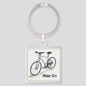 Three-Quarter View Bicycle Square Keychain