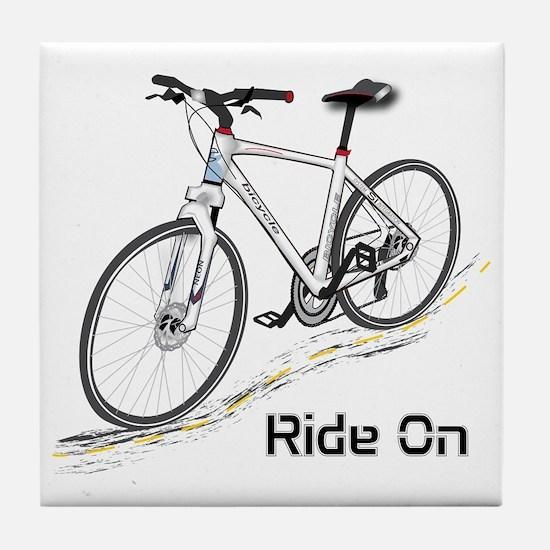 Three-Quarter View Bicycle Tile Coaster