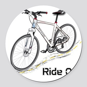 Three-Quarter View Bicycle Round Car Magnet