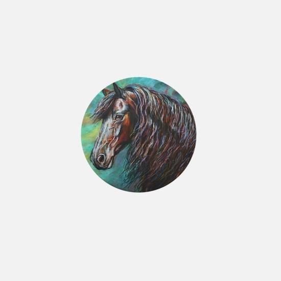 Zelvius the Friesian horse Mini Button