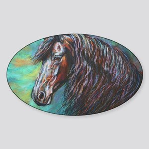 Zelvius the Friesian horse Sticker (Oval)
