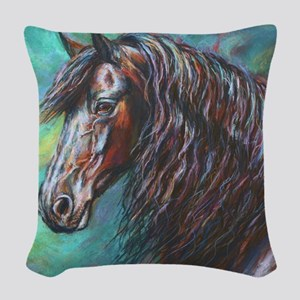 Zelvius the Friesian horse Woven Throw Pillow
