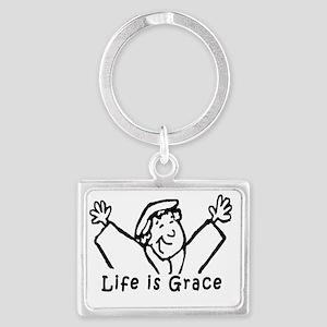 life is grace large Landscape Keychain