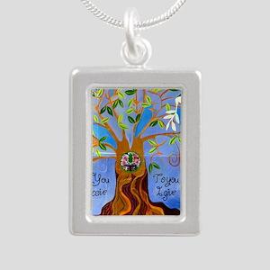 tree for joyce Silver Portrait Necklace