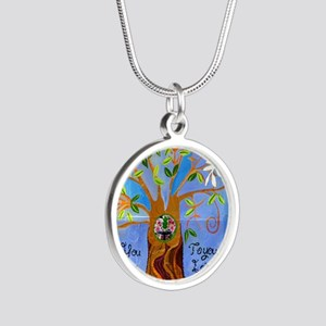 tree for joyce Silver Round Necklace