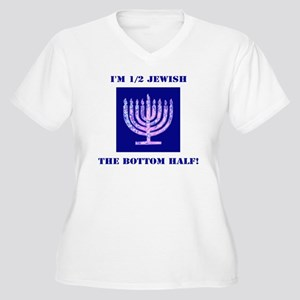 Funny Half Jewish Women's Plus Size V-Neck T-Shirt