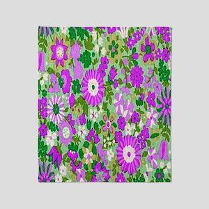 Aqua Flowers Spice copy Throw Blanket