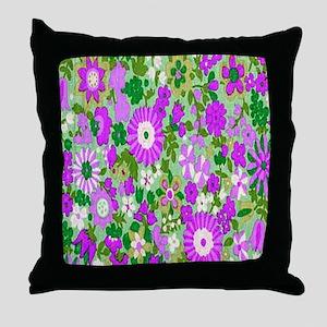 Aqua Flowers Spice copy Throw Pillow