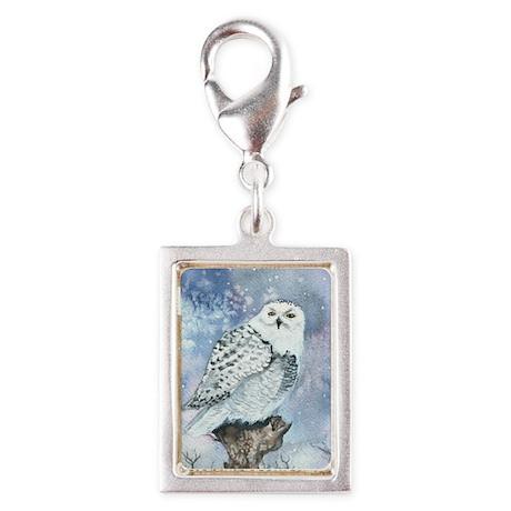 Snowy Owl Silver Portrait Charm