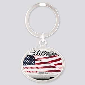 Charger USA flag Oval Keychain