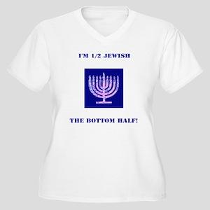 Funny Im 1/2 Jewi Women's Plus Size V-Neck T-Shirt