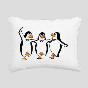 Penguins Dancing Rectangular Canvas Pillow