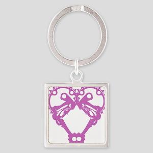 5gearlove_pink Square Keychain