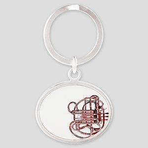 CPHornRedWhiteresized Oval Keychain