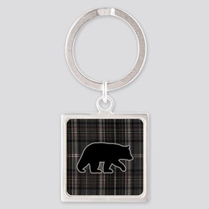bearplaidpillowdrk Square Keychain