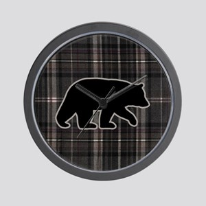 bearplaidpillowdrk Wall Clock