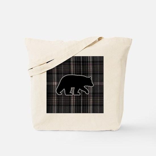 bearplaidpillowdrk Tote Bag