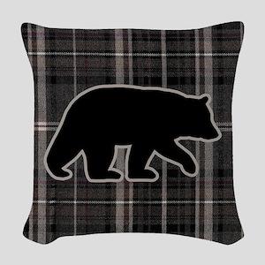 bearplaidpillowdrk Woven Throw Pillow
