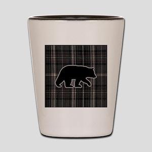 bearplaidpillowdrk Shot Glass