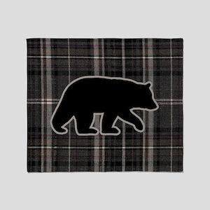 bearplaidpillowdrk Throw Blanket