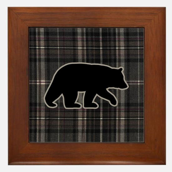 bearplaidpillowdrk Framed Tile