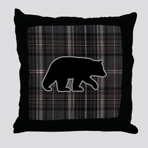 bearplaidpillowdrk Throw Pillow